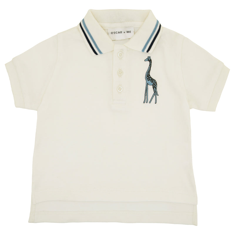 Oscar and Me Boys Pima Cotton Polo White with Giraffe Embroidery