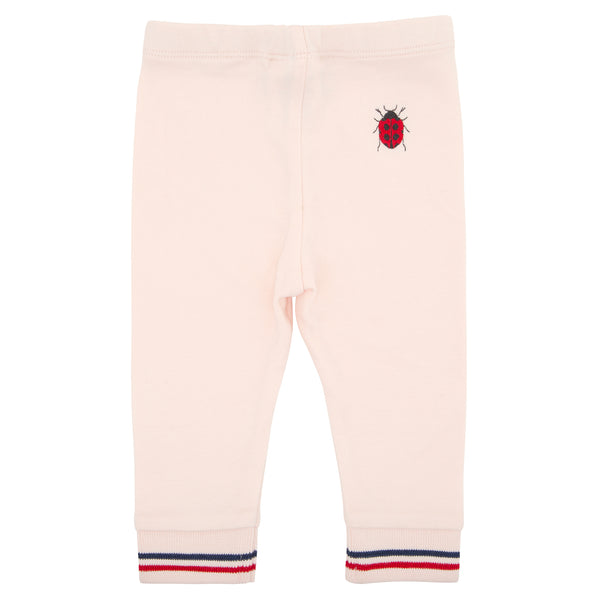 Oscar and Me Girls Pima Cotton Leggings Pink with Ladybug Embroidery and Striped Ankle Rib