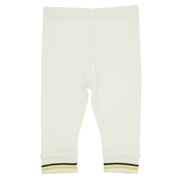 Oscar and Me Girls Pima Cotton Leggings White with Bee Embroidery and Striped Ankle Rib