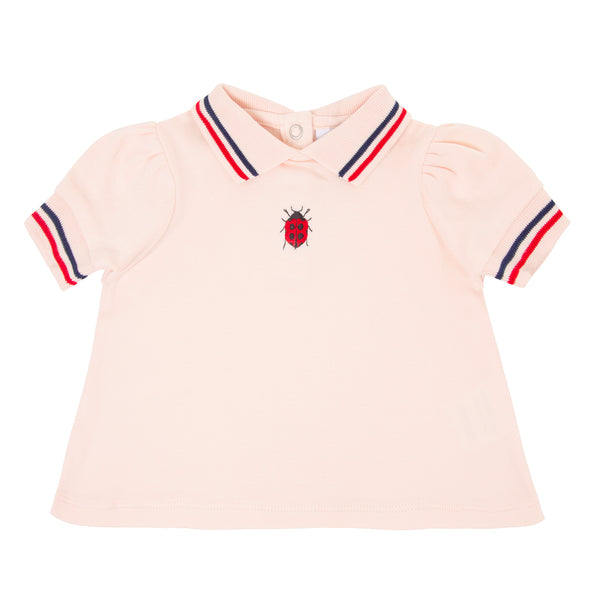 Oscar and Me Girls Pima Cotton Trapeze Top Pink with Ladybug Embroidery