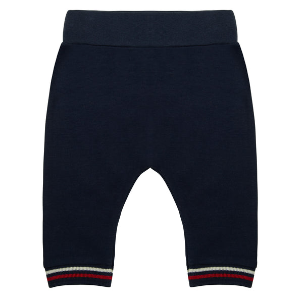 Oscar and Me Boys Pima Cotton Pants Navy with Fox Embroidery and Striped Ankle Rib