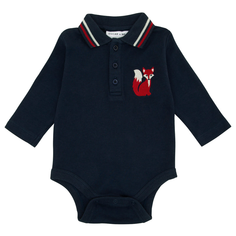 Oscar and Me Boys Pima Cotton Polo Onesie Navy with Fox Embroidery