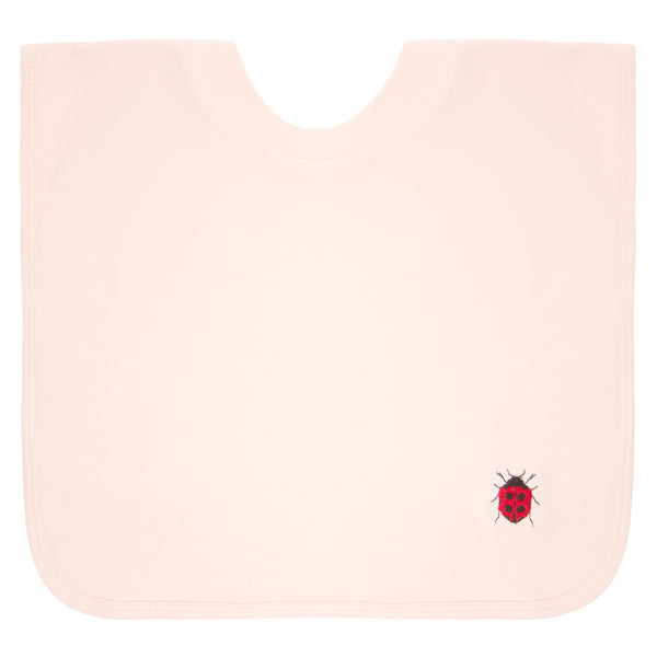 Oscar and Me Pima Cotton Eating Bib Pink with Ladybug Embroidery