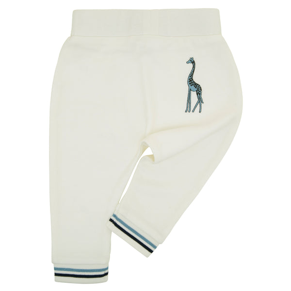 Oscar and Me Boys Pima Cotton Pants White with Giraffe Embroidery and Striped Ankle Rib