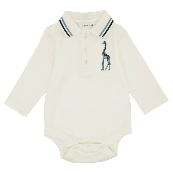 Oscar and Me Boys Pima Cotton Polo Onesie White with Giraffe Embroidery