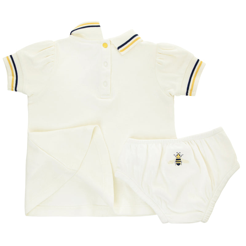 Oscar and Me Girls Pima Cotton Trapeze Dress & Bloomers White with Bee Embroidery