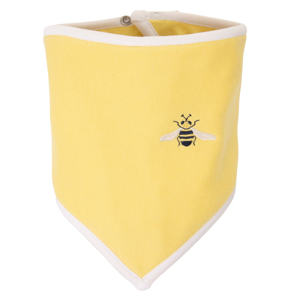 Oscar and Me Pima Cotton Bandana Bib Yellow with Bee Embroidery