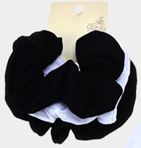 3PCS - FABRIC BURNOUT SCRUNCHIES HAIR BANDS-Black, Black, White