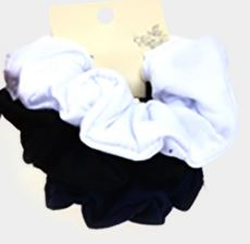 3PCS - FABRIC BURNOUT SCRUNCHIES HAIR BANDS- White, Black, Navy