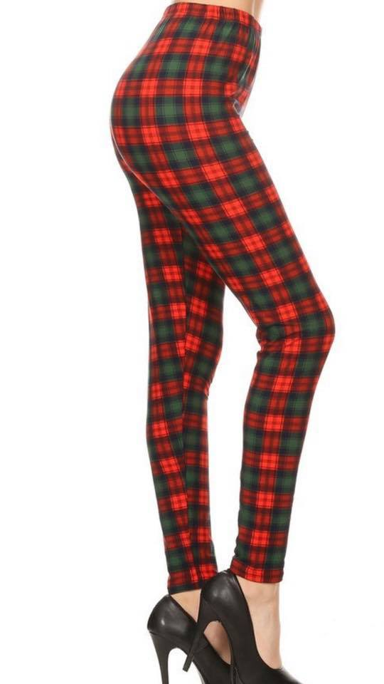 RED & GREEN PLAID LEGGINGS