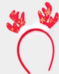 CHRISTMAS Red With Gold Snowflakes Antlers HEADBAND