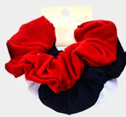3PCS - FABRIC BURNOUT SCRUNCHIES HAIR BANDS-Red, White, Black