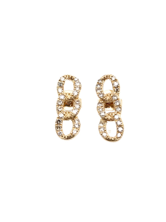 Ulka Rocks Warrenton diamond chain link earrings in 14k gold