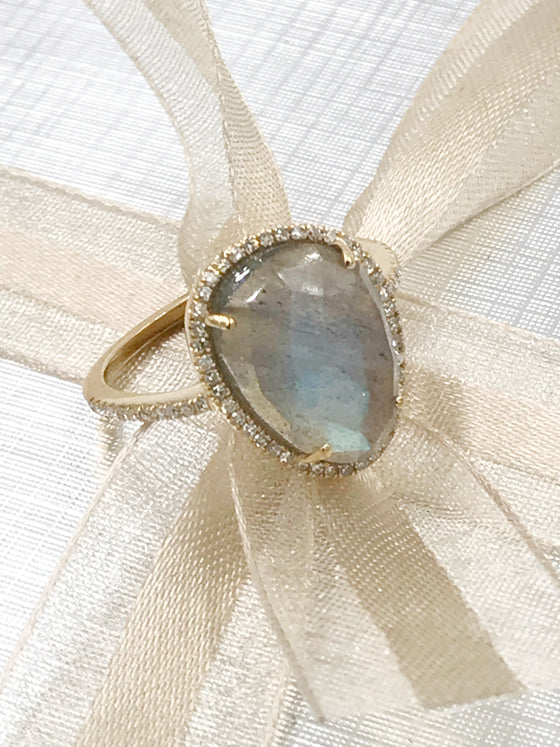 Ulka Rocks Asherton diamond labradorite ring in 14k gold