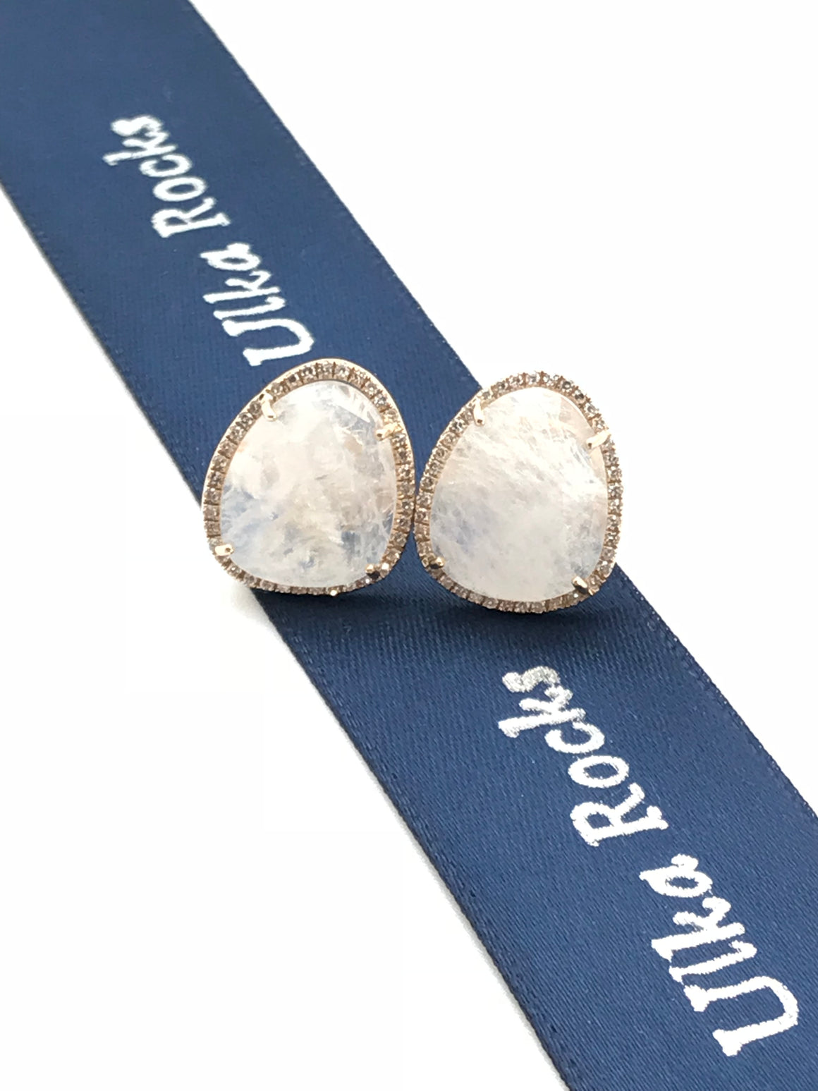 Ulka Rocks Asherton diamond moonstone stud earrings in 14k gold