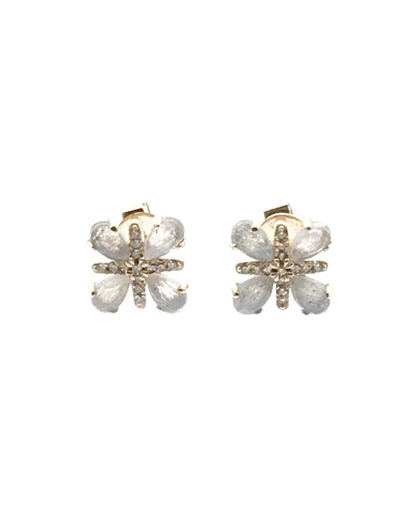 Ulka Rocks Warrenton diamond clover earrings in 14k gold