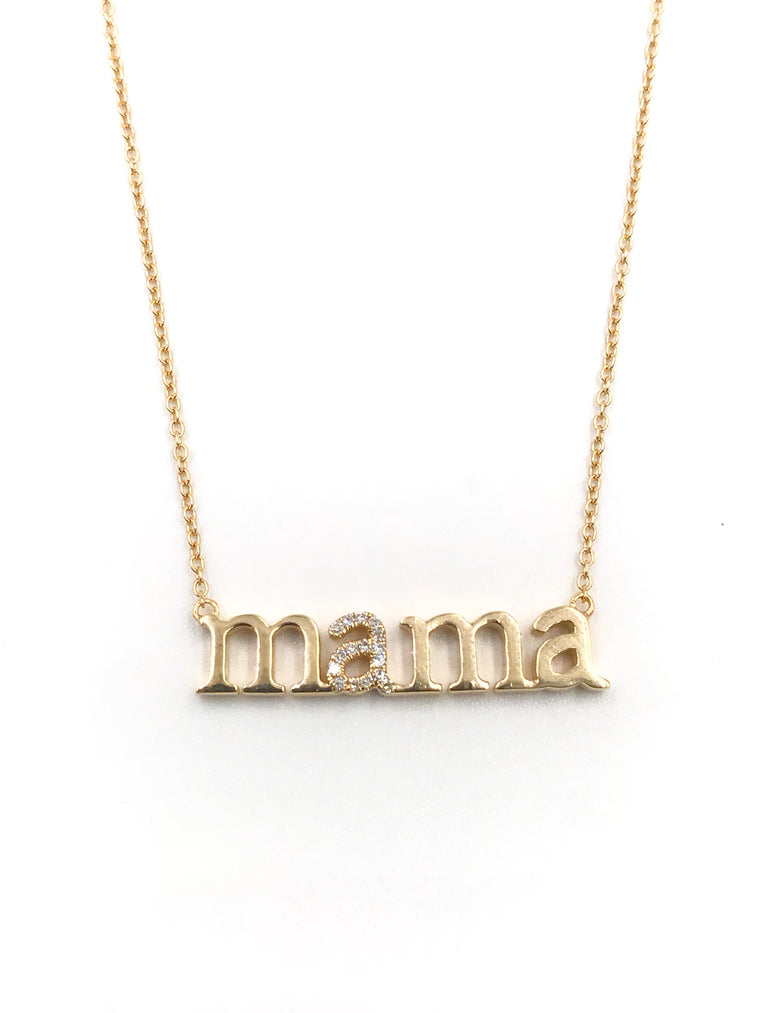 Ulka Rocks Warrenton diamond Mama necklace in 14k gold