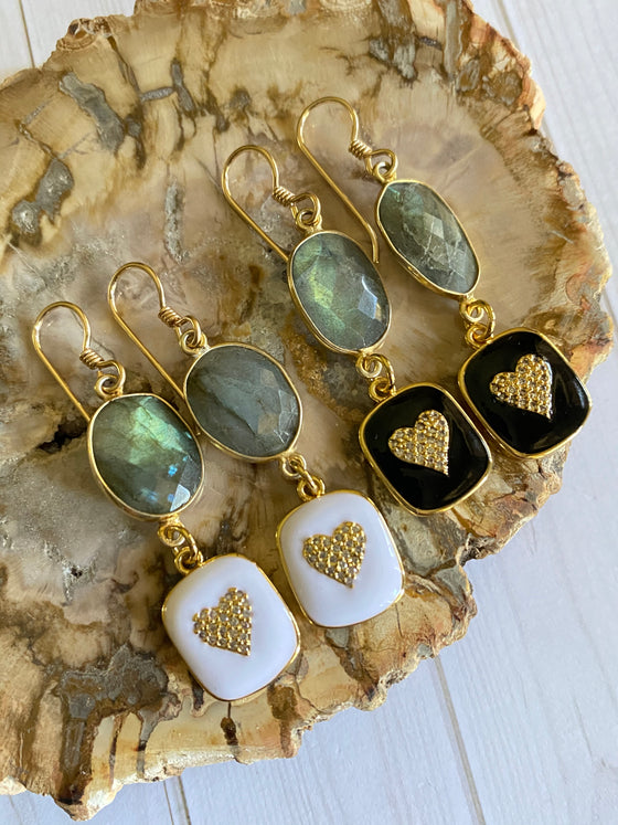 Ulka Rocks - Tira Collection - Labradorite and Enamel Heart Earrings