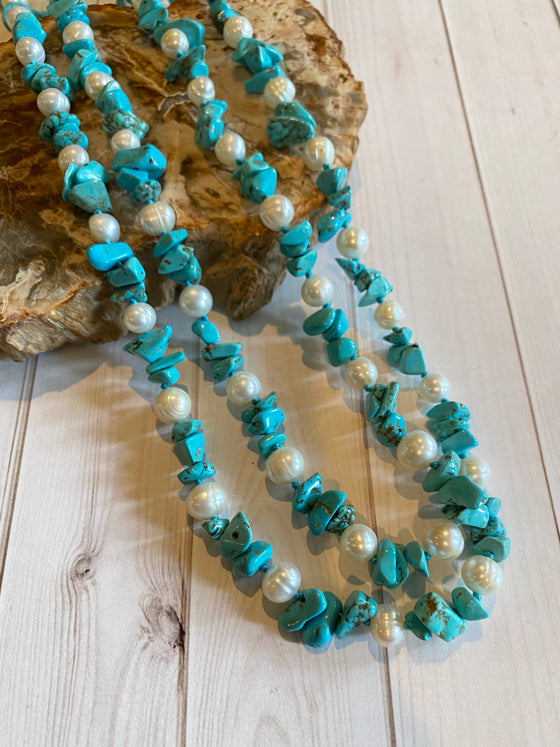 Ulka Rocks - Turquoise and Pearl Necklace 60""