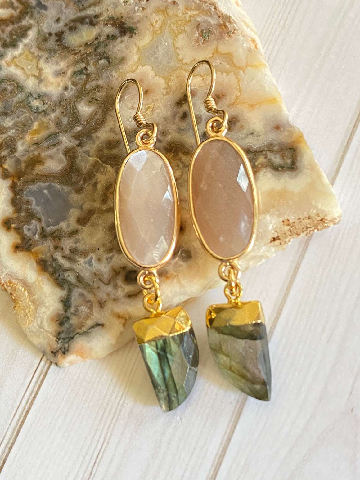 Ulka Rocks - Tira Collection - Labradorite and Pink Moonstone Drop Earrings