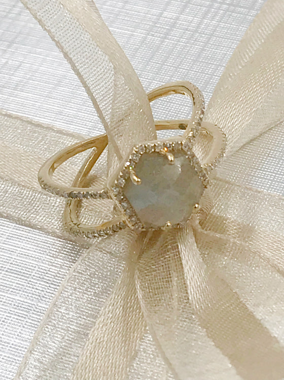 Ulka Rocks Benbrook diamond labradorite double band ring in 14k gold