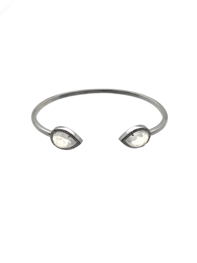 Ulka Rocks Bandera diamond moonstone cuff in sterling silver