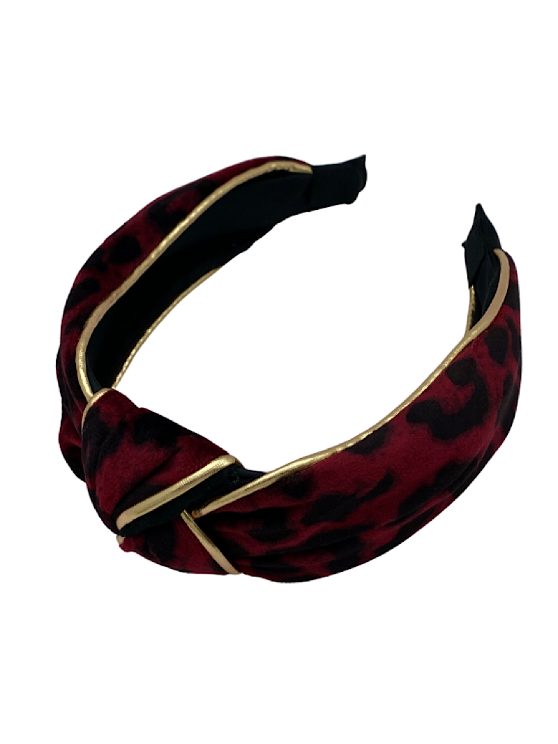 Ulka Rocks Velvet Leopard Headbands With Gold Foil Piping