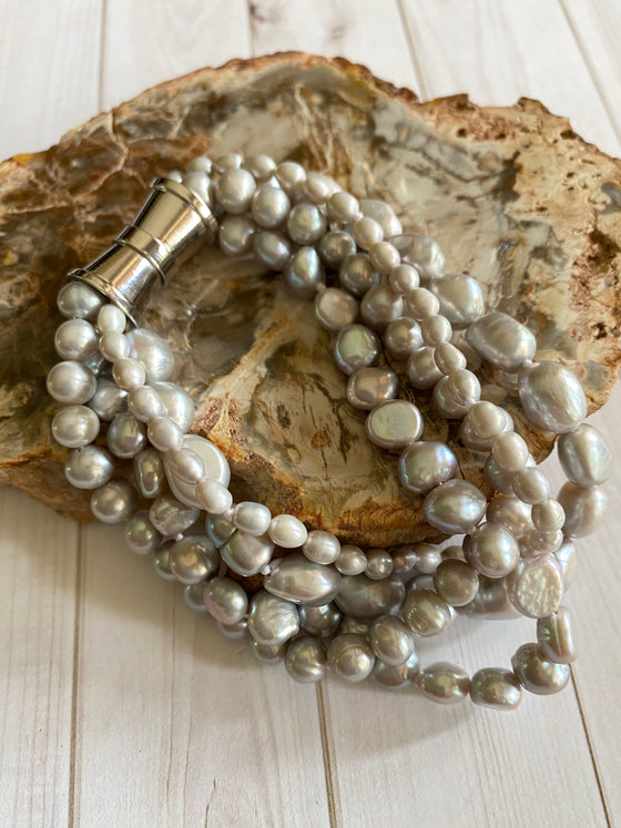 Ulka Rocks - Pearl Collection - Multi Strand Baroque - Gray
