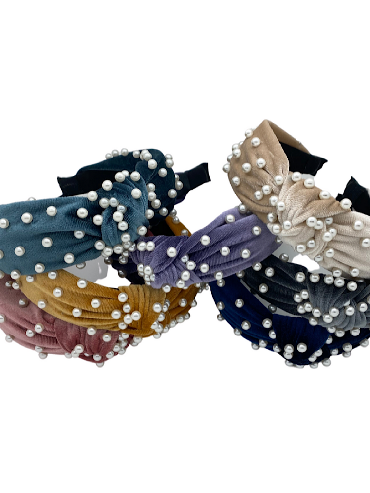 Ulka Rocks Velvet Pearl Headbands