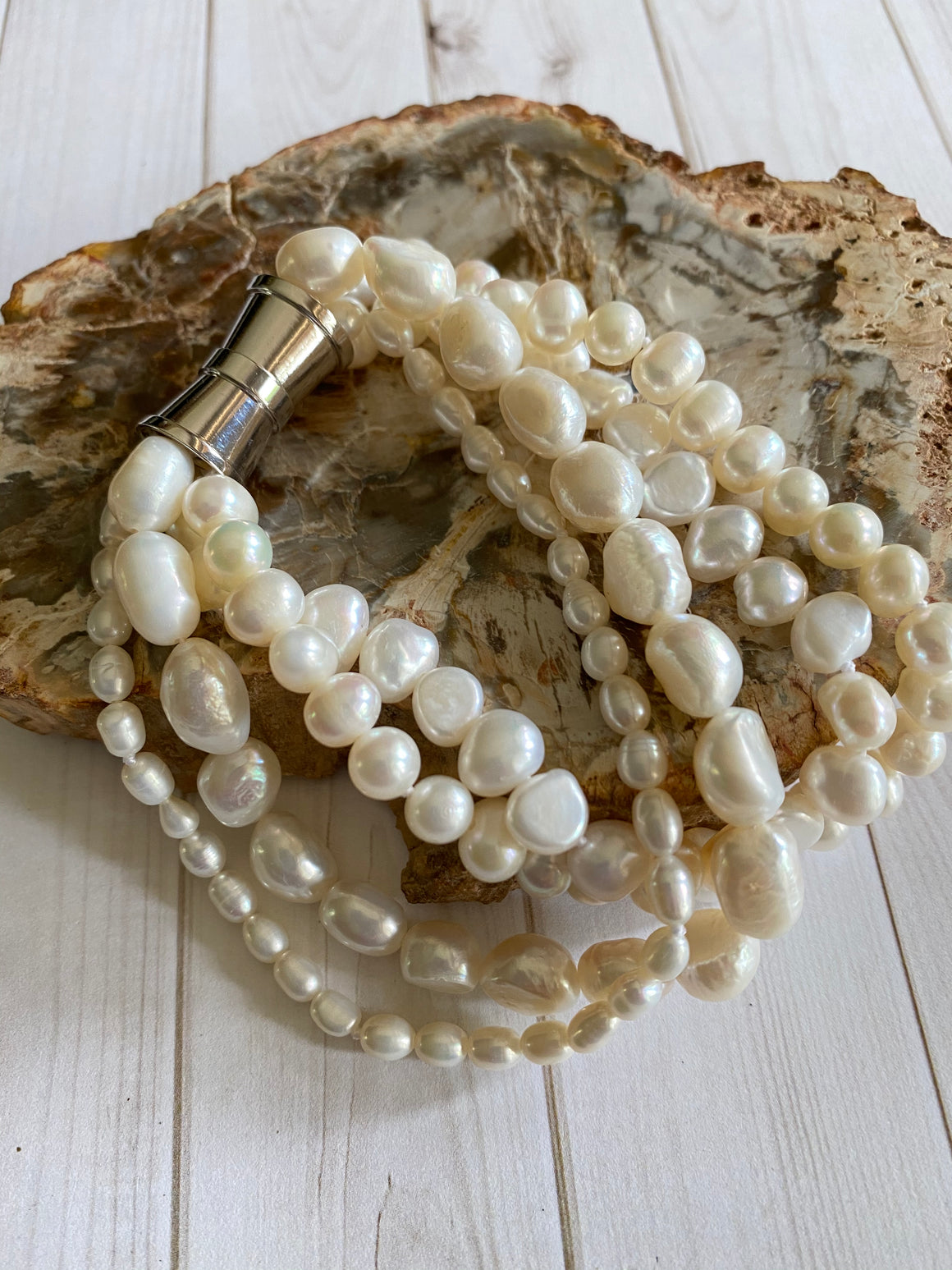 Ulka Rocks - Pearl Collection - Multi Strand Baroque - Natural