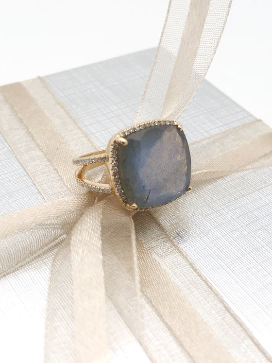 Ulka Rocks Benbrook diamond labradorite ring in 14k gold