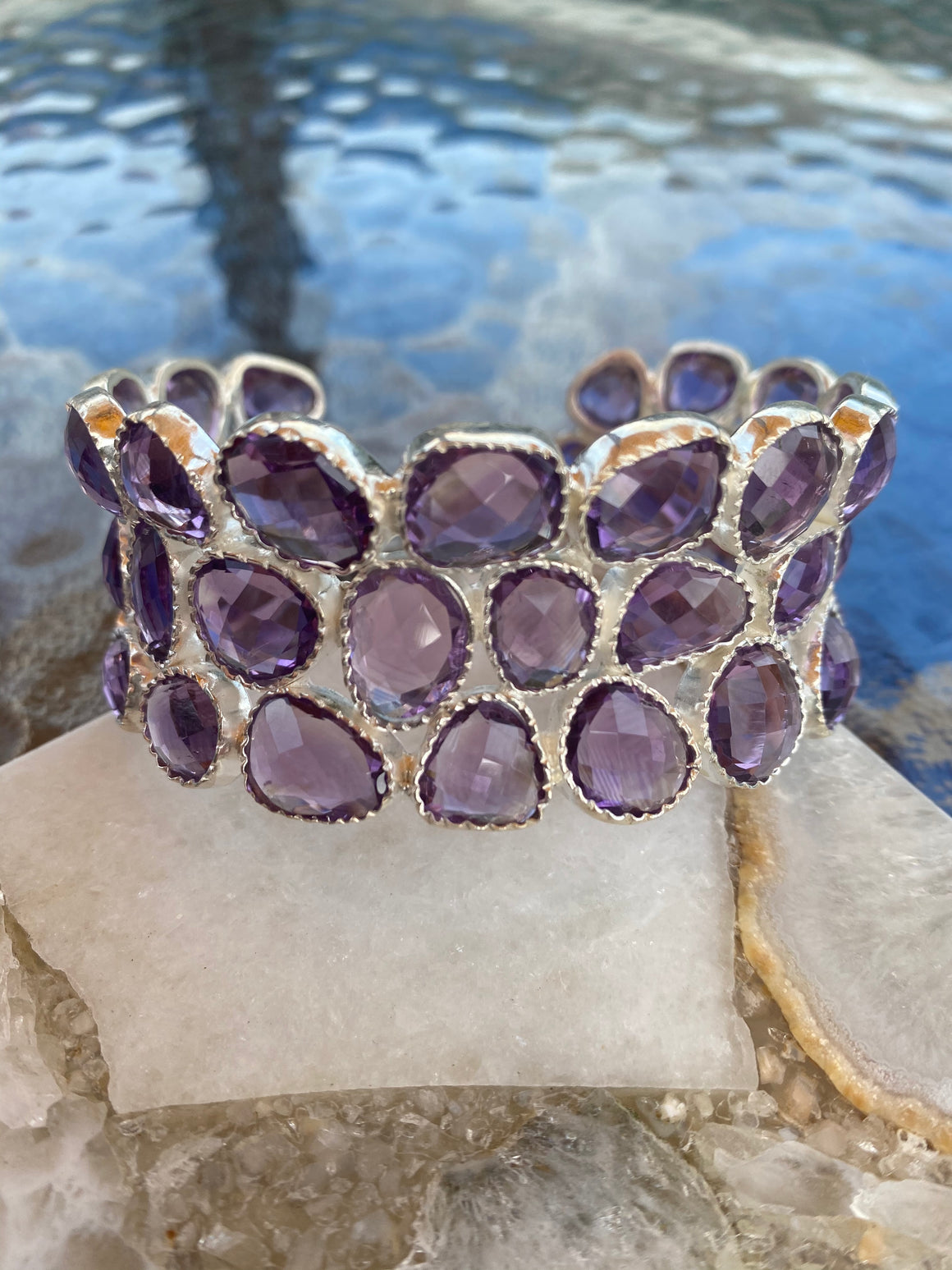 Ulka Rocks - Alton Collection - Gemstone Sterling Silver Cuff - Multiple stones available