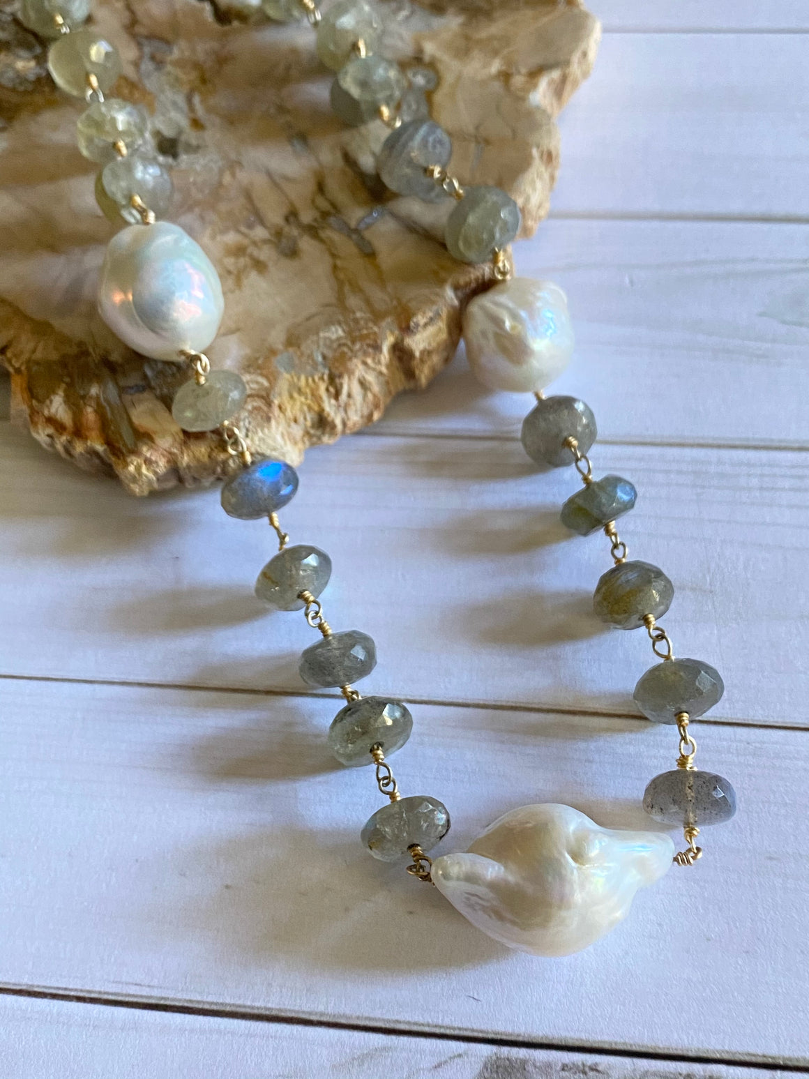 Ulka Rocks - Gemstone Collection - Labradorite and Baroque Pearl Necklace