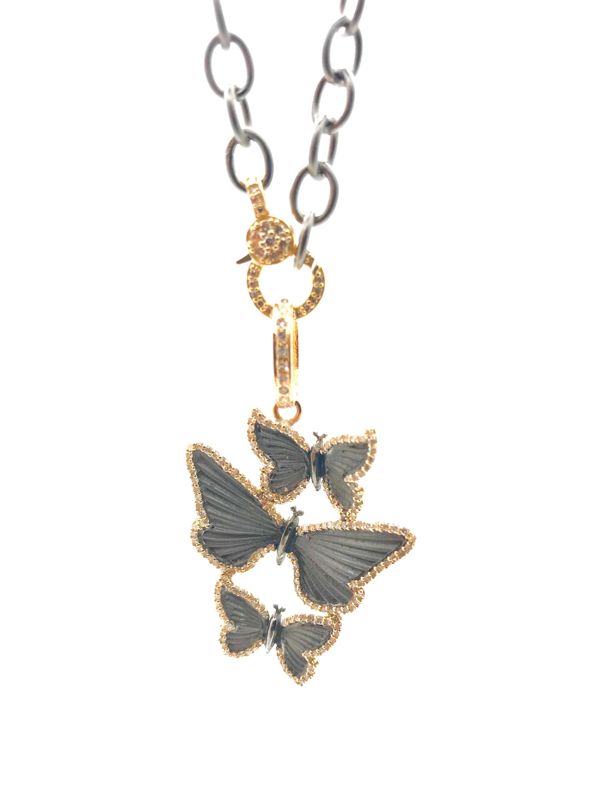 Ulka Rocks Rough Hollow diamond Butterfly necklace in 14k gold and sterling silver