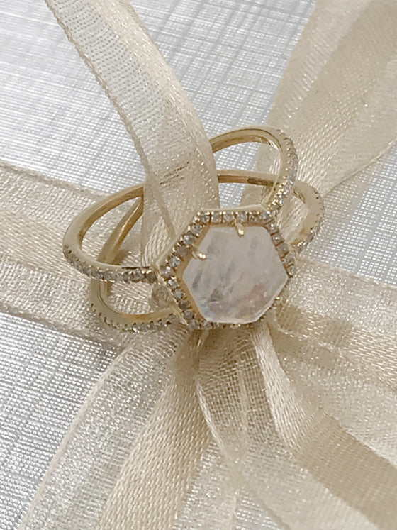 Ulka Rocks Benbrook diamond moonstone double band ring in 14k gold
