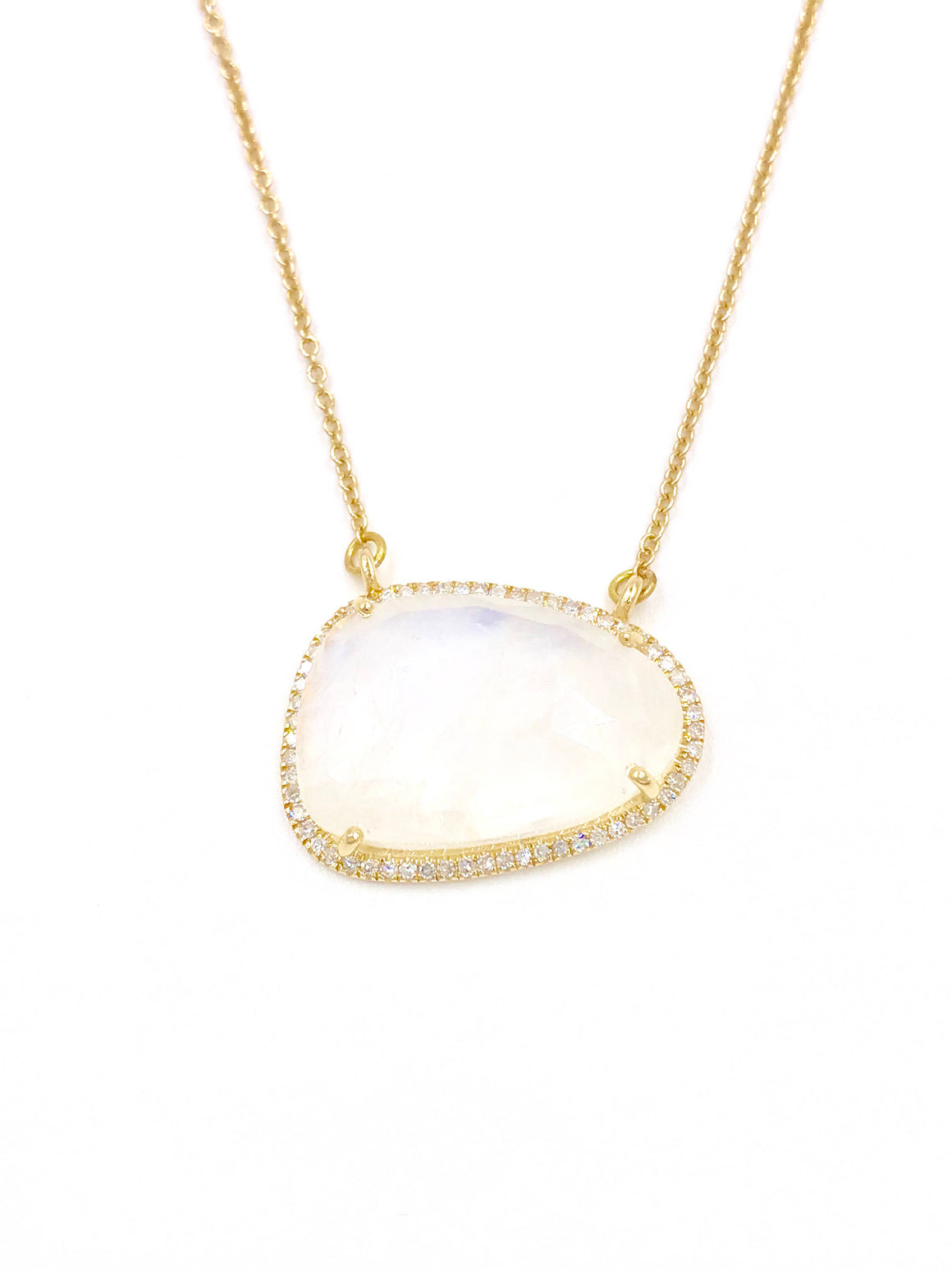 Short AAA 14k gold diamond moonstone necklace