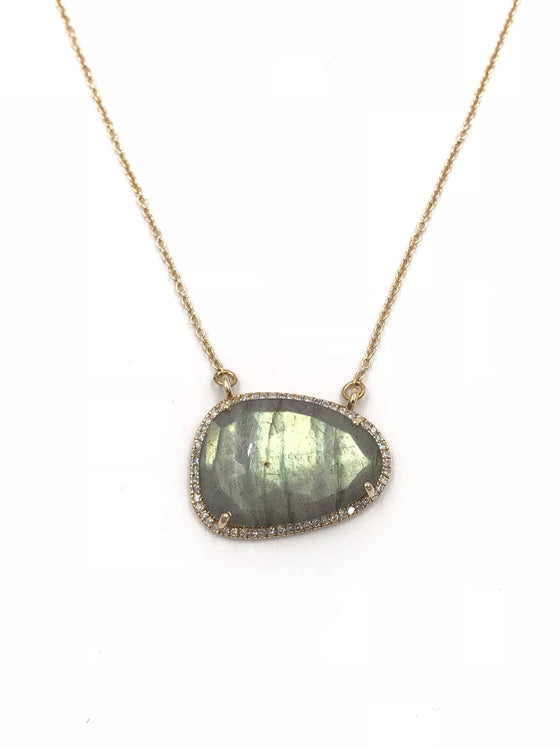 Short 14k gold diamond AAA labradorite necklace