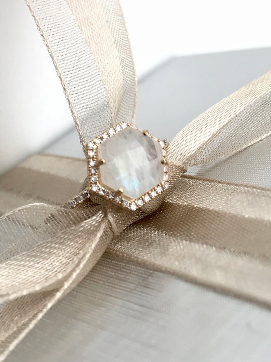 Ulka Rocks Benbrook diamond moonstone ring in 14k gold