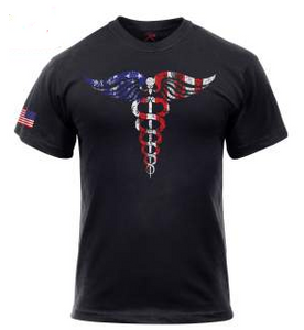 Medical Symbol (Caduceus) T-Shirt - Black