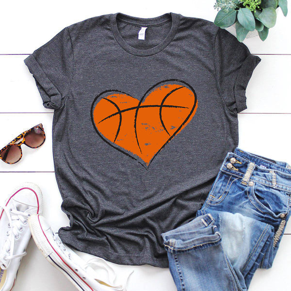 love heart basketball shirt