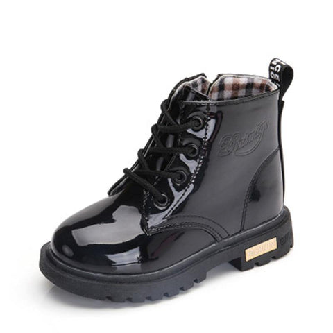 NEW 2019 Girls Leather Boots Boys Shoes Spring Autumn PU Leather Children Boots Fashion Toddler Kids Boots Warm Winter Boots 3BB