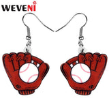 WEVENI Statement Acrylic Baseball Gloves Earrings Drop Dangle Fashion Jewelry For Women Girls Teens Party Gift Charms Decoration