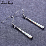 RongXing Baseball Bat White Fire Opal Long Dangle Earrings for Women 925 Sterling Silver Filled Drop Earrings Birthstone Jewelry
