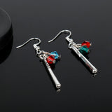 MQCHUN Suicide Squad Harley Quinn Crystals Baseball Bat Drop Dangle Earrings for Women Movie DC Comics Cosplay Costume Jewelry