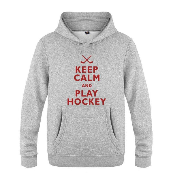 Keep Calm and Play Hockey Hoodie Cotton Winter Teenages  Keep Calm and Play Hockey Sweatershirt Pullover With Hood