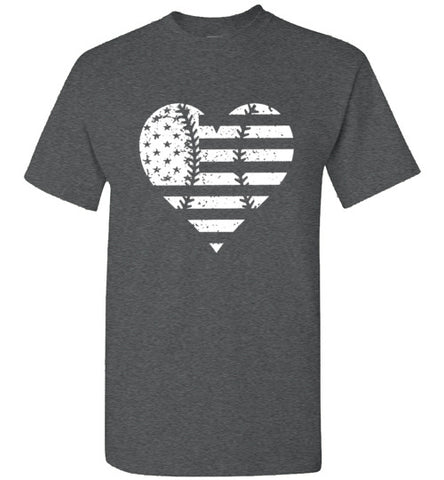 baseball heart usa flag