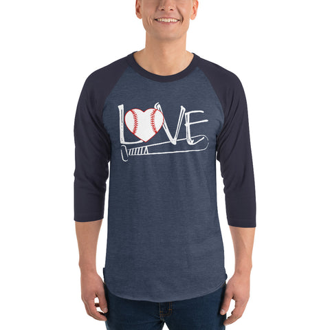 love baseball bat 3/4 sleeve raglan shirt