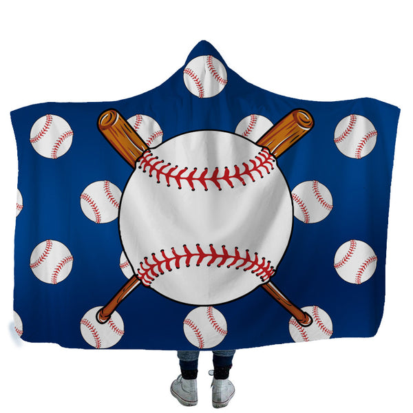 Baseball Printed Hooded Blanket 3D Football Printing Sherpa Fleece Soft Blanket Wearable Warm Throw Bed Blanket For Home Travel
