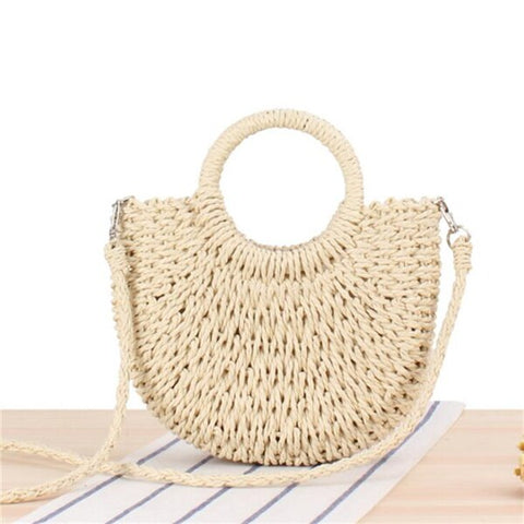 Yogodlns Handmade Half-Round Rattan Woven Straw Bag Summer Women Messenger Crossbody Bags Girls Small Beach Handbag 2020