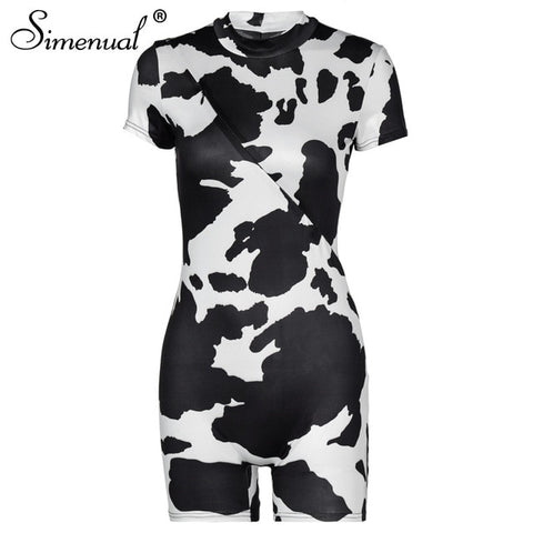 Simenual Cow Print Zipper Front Women Rompers Bodycon Casual Skinny Short Sleeve Playsuits Summer Sporty Biker Shorts Playsuit